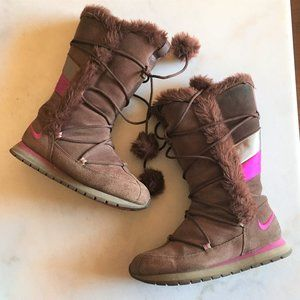 Nike brown winter snow boots suede pom pom pink